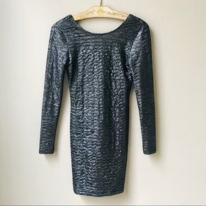 Motel Rocks Dress Size S Metallic Gunmetal Gray